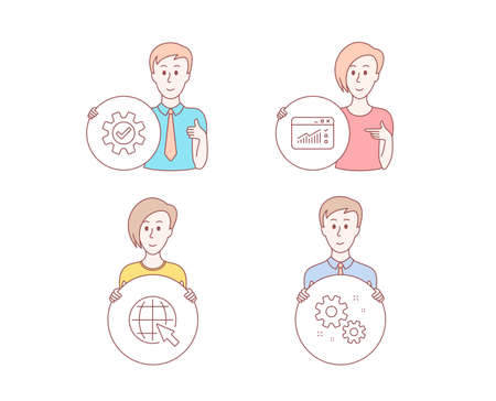 People set of Web traffic, Service and Internet icons. Work sign. Website window, Cogwheel gear, World web. Settings. Character hold circle button. Man with like hand. Vector Banque d'images - 112888014