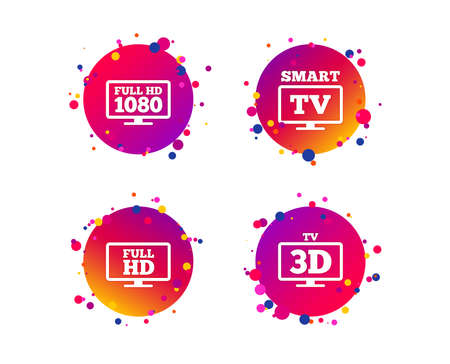 Smart TV mode icon. Widescreen symbol. Full hd 1080p resolution. 3D Television sign. Gradient circle buttons with icons. Random dots design. Vector