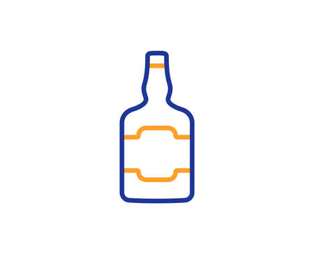 Whiskey bottle line icon. Scotch alcohol sign. Colorful outline concept. Blue and orange thin line color icon. Whiskey bottle Vector