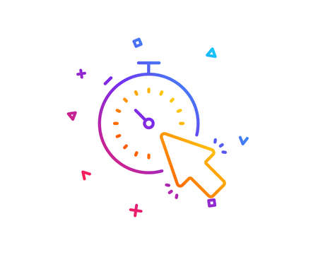 Timer line icon. Time or clock sign. Mouse cursor symbol. Gradient line button. Timer icon design. Colorful geometric shapes. Vector 向量圖像