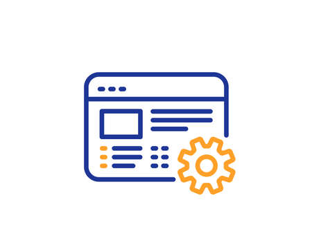 Web settings line icon. Engineering cogwheel tool sign. Cog gear symbol. Colorful outline concept. Blue and orange thin line color Web settings icon. Vector Illustration