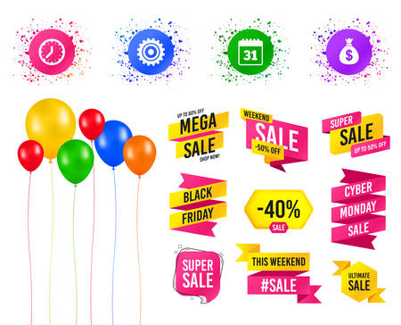 Balloons party. Sales banners. Business icons. Calendar and mechanical clock signs. Dollar money bag and gear symbols. Birthday event. Trendy design. Vector