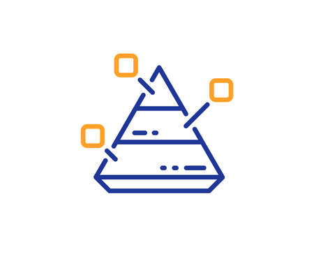 Pyramid chart line icon. Analytics graph sign. Market analytics symbol. Colorful outline concept. Blue and orange thin line color Pyramid chart icon. Vector 일러스트