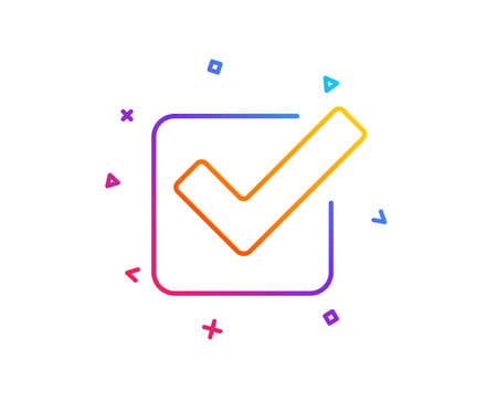 Check line icon. Approved Tick sign. Confirm, Done or Accept symbol. Gradient line button. Checkbox icon design. Colorful geometric shapes. Vector