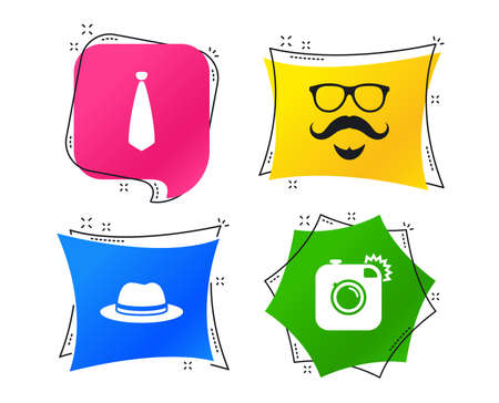 Hipster photo camera. Mustache with beard icon. Glasses and tie symbols. Classic hat headdress sign. Geometric colorful tags. Banners with flat icons. Trendy design. Vector Illustration
