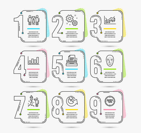 Infographic template with numbers 9 options. Set of Typewriter, Work and Face biometrics icons. Financial diagram, Fireworks and Report diagram signs. Partnership, Share idea and Tips symbols. Vector