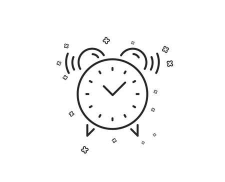 Alarm clock line icon. Time or watch sign. Geometric shapes. Random cross elements. Linear Alarm clock icon design. Vector