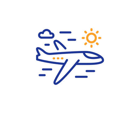 Airplane travel line icon. Trip flight sign. Holidays symbol. Colorful outline concept. Blue and orange thin line color Airplane travel icon. Vector