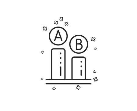 Ab testing line icon. Ui test chart sign. Geometric shapes. Random cross elements. Linear Ab testing icon design. Vector