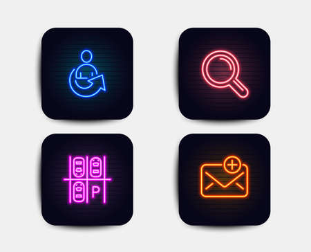 Neon glow lights. Set of Parking place, Research and Share icons. New mail sign. Transport, Magnifying glass, Referral person. Add e-mail.  Neon icons. Glowing light banners. Vector Illustration