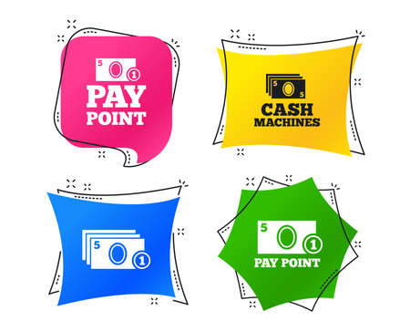 Cash and coin icons. Cash machines or ATM signs. Pay point or Withdrawal symbols. Geometric colorful tags. Banners with flat icons. Trendy design. Vector Çizim