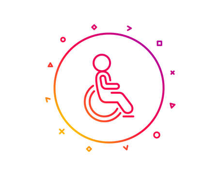 Disabled line icon. Handicapped wheelchair sign. Person transportation symbol. Gradient pattern line button. Disabled icon design. Geometric shapes. Vector Foto de archivo - 112840544