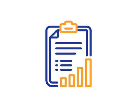 Checklist line icon. Graph chart sign. Growth diagram symbol. Colorful outline concept. Blue and orange thin line color Checklist icon. Vector