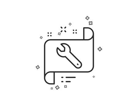 Spanner tool line icon. Repair service blueprint sign. Fix instruments symbol. Geometric shapes. Random cross elements. Linear Spanner icon design. Vector
