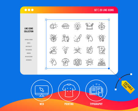 Creativity line icons. Set of Design, Idea and Inspiration linear icons. Imagination, Idea box and Creative signs. Brush with pencil, T-shirt and Out of the box symbols. Vector