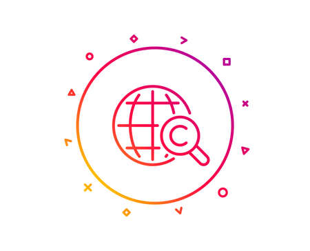 International Ð¡opyright line icon. Copywriting sign. World symbol. Gradient pattern line button. International Ð¡opyright icon design. Geometric shapes. Vector Illusztráció