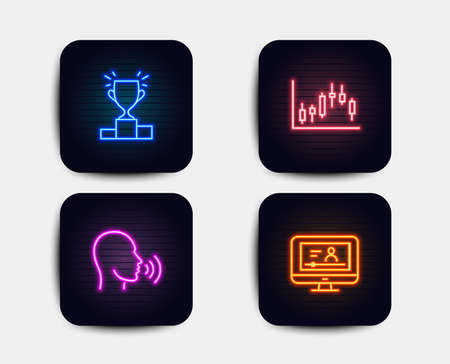 Neon set of Winner podium, Human sing and Candlestick graph icons. Online video sign. Competition results, Talk, Finance chart. Video exam. Neon icons. Glowing light banners. Vector Illustration