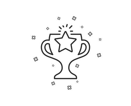 Winner cup line icon. Sport Trophy with Star symbol. Victory achievement or Championship prize sign. Geometric shapes. Random cross elements. Linear Victory icon design. Vector
