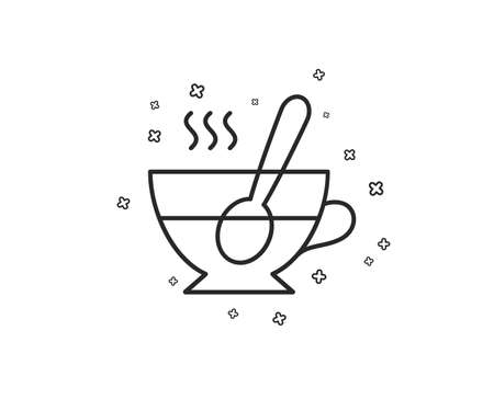 Cup with spoon line icon. Fresh beverage sign. Latte or Coffee symbol. Geometric shapes. Random cross elements. Linear Tea cup icon design. Vector
