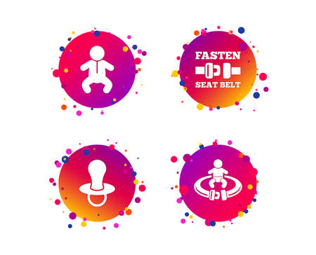 Baby infants icons. Toddler boy with diapers symbol. Fasten seat belt signs. Child pacifier and pram stroller. Gradient circle buttons with icons. Random dots design. Vector Illustration