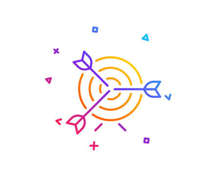 Target line icon. Marketing targeting strategy symbol. Aim with arrows sign. Gradient line button. Target icon design. Colorful geometric shapes. Vector