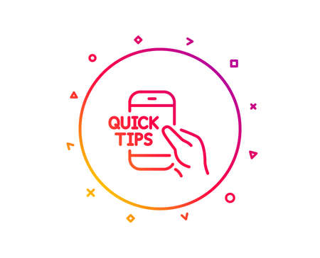 Quick tips on phone line icon. Helpful tricks sign. Internet tutorials symbol. Gradient pattern line button. Education icon design. Geometric shapes. Vector