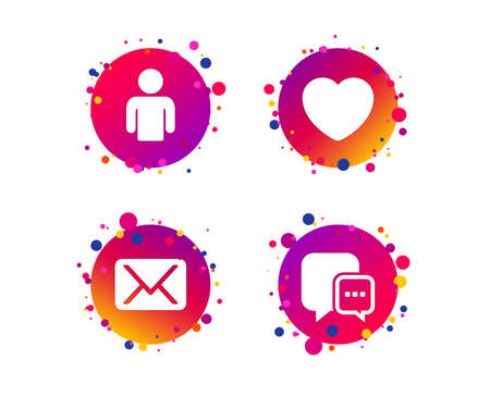 Social media icons. Chat speech bubble and Mail messages symbols. Love heart sign. Human person profile. Gradient circle buttons with icons. Random dots design. Vector Illustration