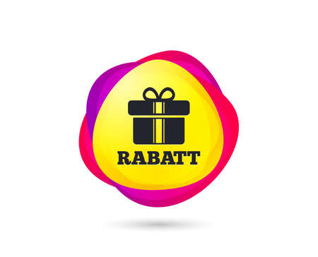 Gradient shopping banner. Rabatt - Discounts in German sign icon. Gift box with ribbons symbol. Sales tag. Abstract template for design. Vector Standard-Bild - 112872760