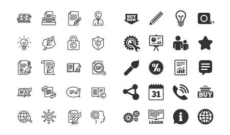 Copywriting line icons. Set of Сopyright protection, Signature and Feedback signs. Typewriter, Idea and Speech bubble message symbols. Information, calendar and call phone icons. Vector