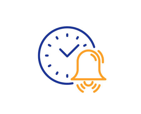 Alarm bell line icon. Time or watch sign. Colorful outline concept. Blue and orange thin line color icon. Alarm bell Vector