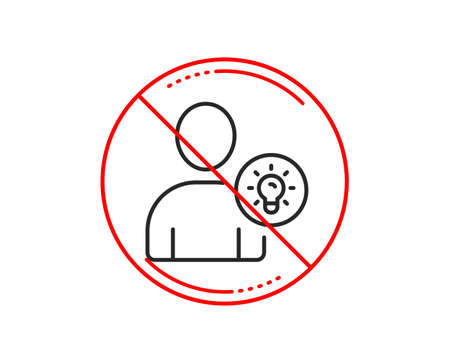 No or stop sign. User line icon. Profile with Lamp bulb sign. Person silhouette with idea symbol. Caution prohibited ban stop symbol. No  icon design.  Vector