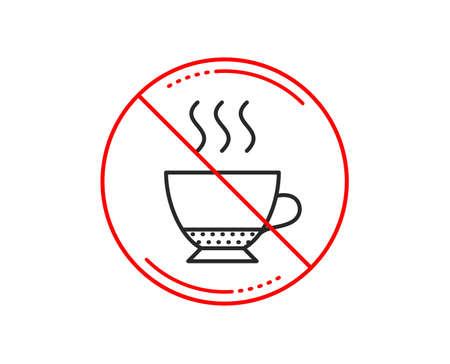 No or stop sign. Espresso coffee icon. Hot drink sign. Beverage symbol. Caution prohibited ban stop symbol. No  icon design.  Vector 向量圖像