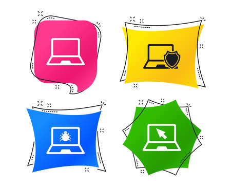 Notebook laptop pc icons. Virus or software bug signs. Shield protection symbol. Mouse cursor pointer. Geometric colorful tags. Banners with flat icons. Trendy design. Vector Çizim