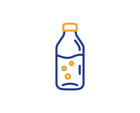 Water bottle line icon. Soda aqua drink sign. Liquid symbol. Colorful outline concept. Blue and orange thin line color Water bottle icon. Vector