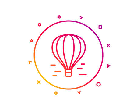 Air balloon line icon. Flight transport with basket sign. Aircraft symbol. Gradient pattern line button. Air balloon icon design. Geometric shapes. Vector Stock Illustratie