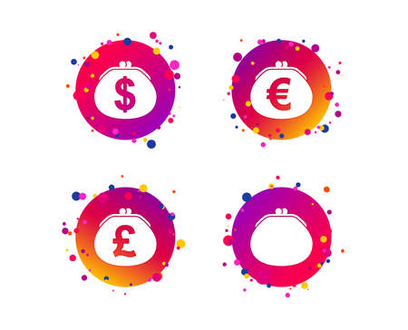 Wallet with Dollar, Euro and Pounds currency icons. Cash bag signs. Retro wealth symbol. Gradient circle buttons with icons. Random dots design. Vector Foto de archivo - 112838450