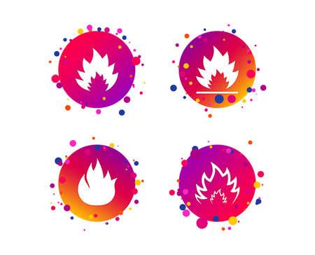 Icone della fiamma del fuoco. Simboli di calore. Segni infiammabili. Pulsanti del cerchio sfumato con icone. Design a punti casuali. Vettore Vettoriali