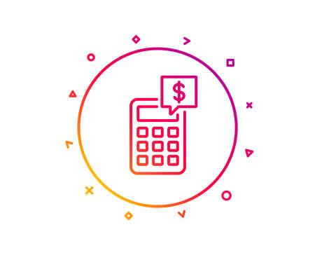 Calculator line icon. Accounting sign. Calculate finance symbol. Gradient pattern line button. Calculator icon design. Geometric shapes. Vector Illustration