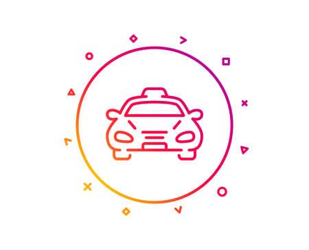Taxi cab transport line icon. Car vehicle sign. Taxicab driving symbol. Gradient pattern line button. Taxi icon design. Geometric shapes. Vector