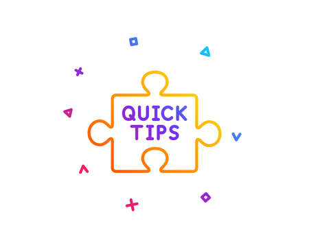 Quick tips puzzle line icon. Helpful tricks sign. Gradient line button. Quick tips icon design. Colorful geometric shapes. Vector
