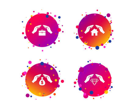 Hands insurance icons. Money bag savings insurance symbols. Jewelry diamond symbol. House property insurance sign. Gradient circle buttons with icons. Random dots design. Vector Illustration