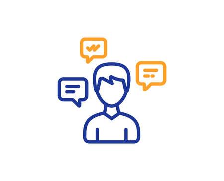 Chat Messages line icon. Conversation sign. Communication speech bubbles symbol. Colorful outline concept. Blue and orange thin line color icon. Conversation messages Vector Illustration