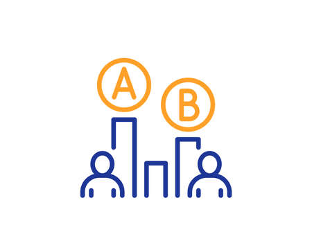 Ab testing line icon. Ui test chart sign. Colorful outline concept. Blue and orange thin line color Ab testing icon. Vector Illustration