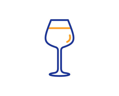 Wine glass line icon. Bordeaux glass sign. Colorful outline concept. Blue and orange thin line color icon. Bordeaux glass Vector