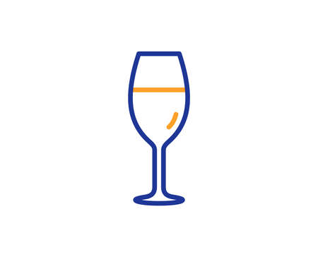 Wine glass line icon. Burgundy glass sign. Colorful outline concept. Blue and orange thin line color icon. Wineglass Vector Illustration