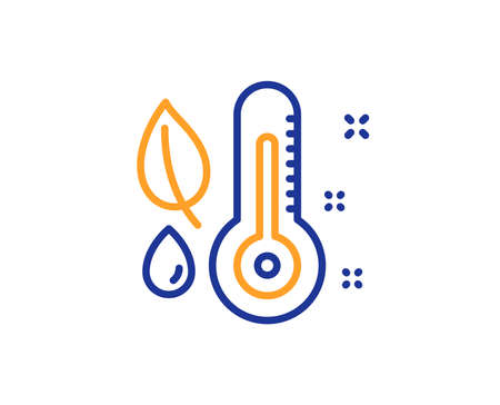 Thermometer line icon. Humidity and leaf sign. Moisture symbol. Colorful outline concept. Blue and orange thin line color Thermometer icon. Vector Ilustração