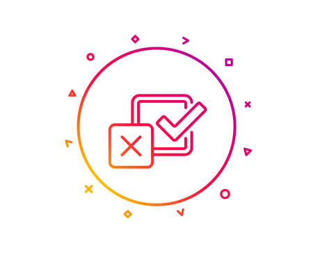 Checkbox line icon. Survey choice sign. Business review symbol. Gradient pattern line button. Checkbox icon design. Geometric shapes. Vector Illustration
