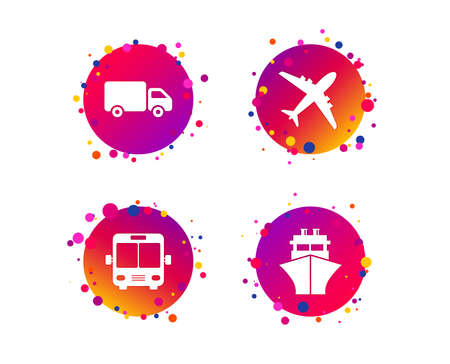 Transport icons. Truck, Airplane, Public bus and Ship signs. Shipping delivery symbol. Air mail delivery sign. Gradient circle buttons with icons. Random dots design. Vector