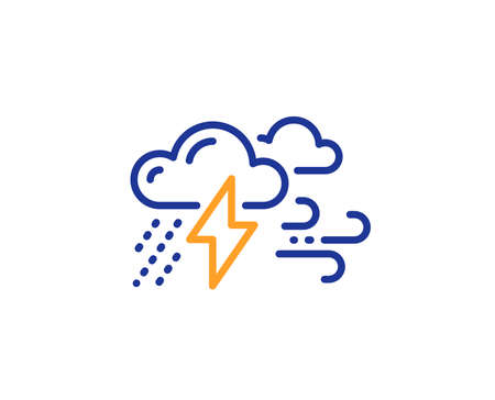 Clouds with raindrops, lightning, wind line icon. Bad weather sign. Colorful outline concept. Blue and orange thin line color Bad weather icon. Vector