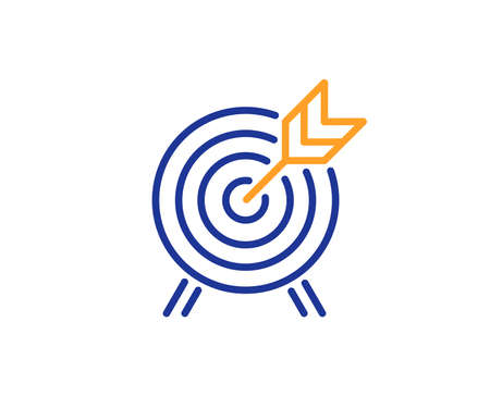 Archery line icon. Amusement park attraction sign. Colorful outline concept. Blue and orange thin line color icon. Archery Vector
